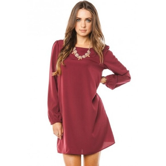 949134d4103c Long Sleeve Shift Dress - Burgundy