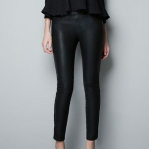 Zara Pants - Zara faux leather pants with gold ankle zippers