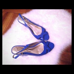 Sam Edelman Cobalt Blue Open Toe Wedges  8.5