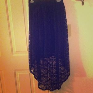 Black Lace Hi-Lo Skirt