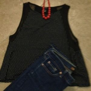 Black and White Polka Dot Forever 21 Top Size S