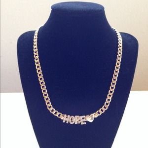 """Jewelry - Gold Rhinestone """"HOPE <3"""" Letters Chain Necklace"""