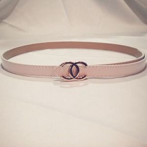Thin Waist CC Belt (White/Gold)