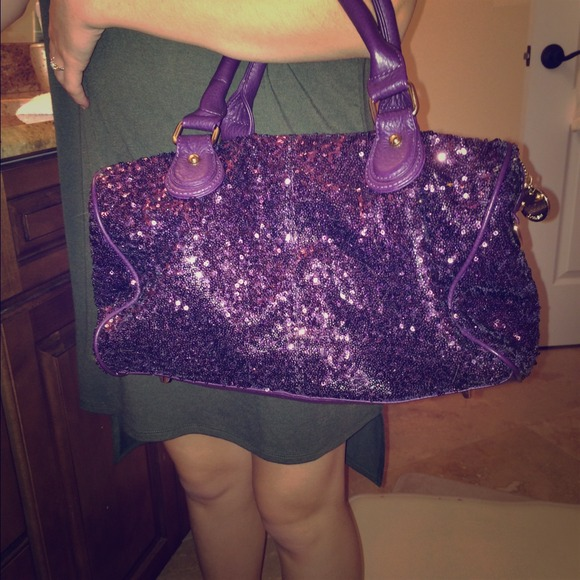 deux lux Handbags - Deux lux purple sequin tote bag