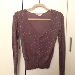 New Taupe Polka Dot sweater cardigan