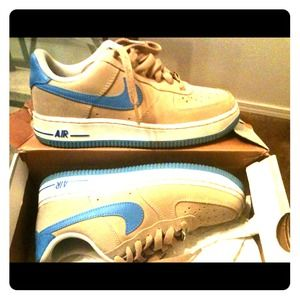 Shoes | Tan And Baby Blue Air Force 1s