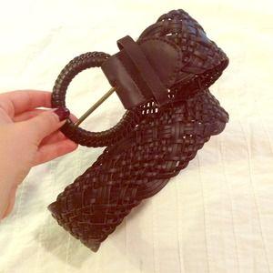 Accessories - Dark brown imitation leather woven belt