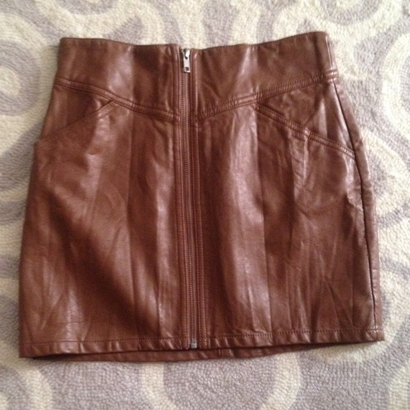 H&m Brown Leather Skirt