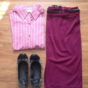 3/4 pink and white striped button up