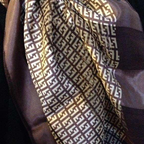 86d2242c7125 FENDI Accessories - Authentic..100% Silk FENDI Scarf Brown Gold