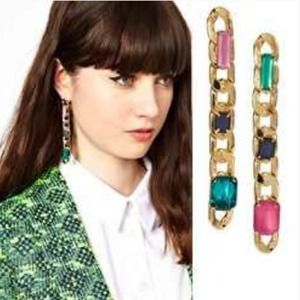 Jewelry - 🌟LAST ONE🌟Gold Plated Gem Metal Drop Earring🌟