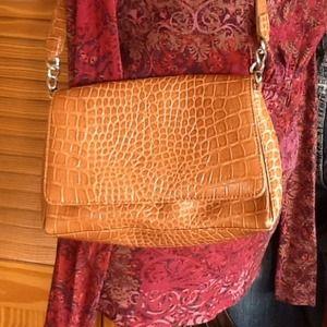 LC caramel croc embossed purse
