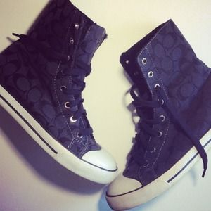 Coach Black Signature Print High Top Fur Sneakers