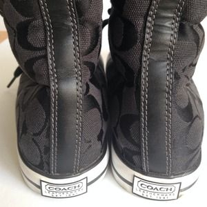 Coach Shoes - Coach SignaturePrint High Top Fur Sneakers 3