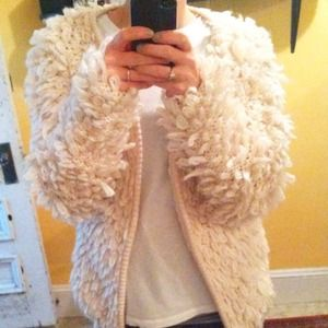 Jackets & Blazers - White loop sweater jacket (like faux fur)
