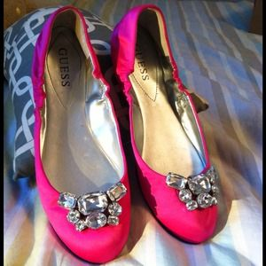 Guess Shoes - Fuchsia pink jeweled Guess flats