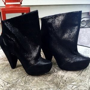 Irregular Choice Shoes - Black snake cone heel booties- SO COOL!