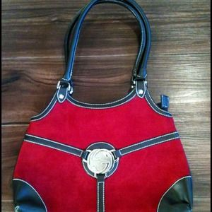 Red Hot handbag. Cool suede feel, please touch :)