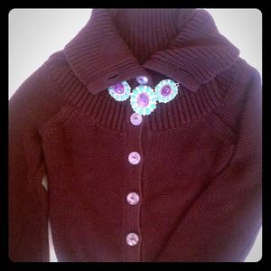 Anthropologie Sweater in Deep Chocolate Color