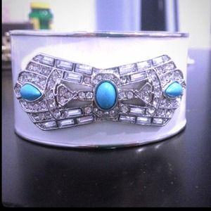 NWOT white bangle with turquoise stones!