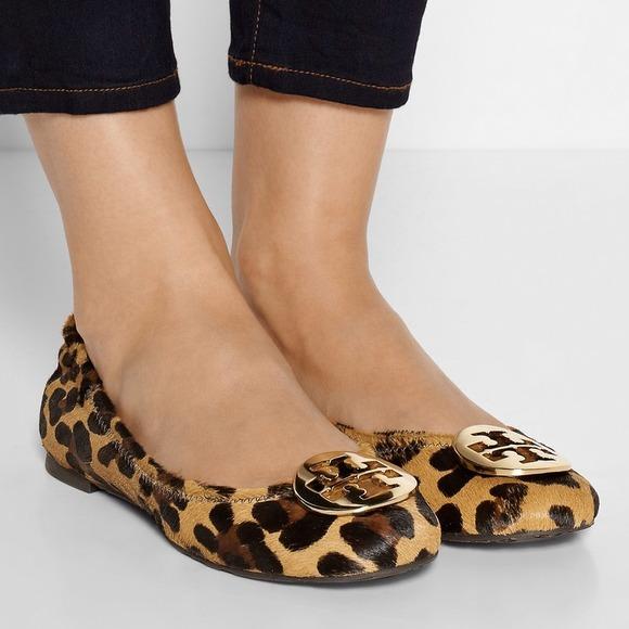 Tory Burch 'Reva' Calf Hair Leopard Ballerina Flat