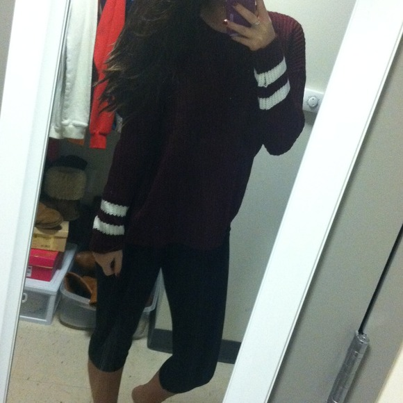 33% off Forever 21 Sweaters - Maroon baggy sweater with white ...