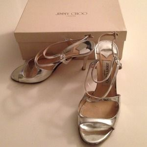 Jimmy Choo silver strappy sandals 37