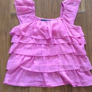 Pink ruffle tiered top