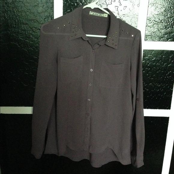 6bd1c08ac5a3ac Chloe Tops | Nordstrom Sheer Studded Long Sleeve Top Small | Poshmark