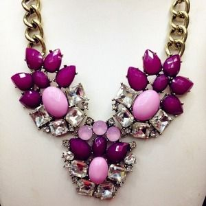 Statement Necklace in Plum Lavender
