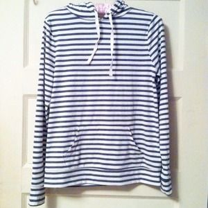 Old Navy Tops - Old Navy striped jersey tee hoodie blue / gray