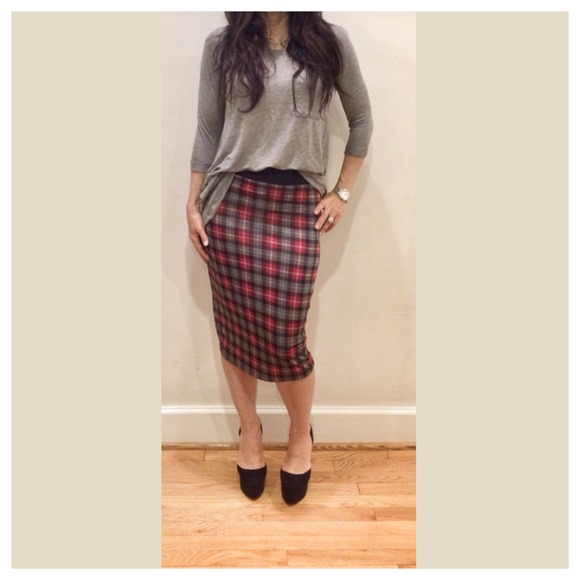 71% off Dresses & Skirts - Plaid pencil skirt sale only 2 left ...