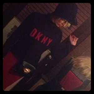 """DKNY MOHAIR SWEATER BLACK WITH RED LETTERS """"DKNY"""""""