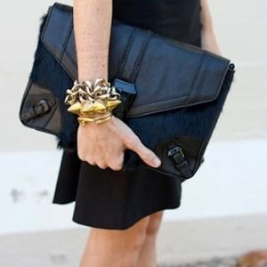 8X HPRebecca Minkoff Black Fur Clutch Purse