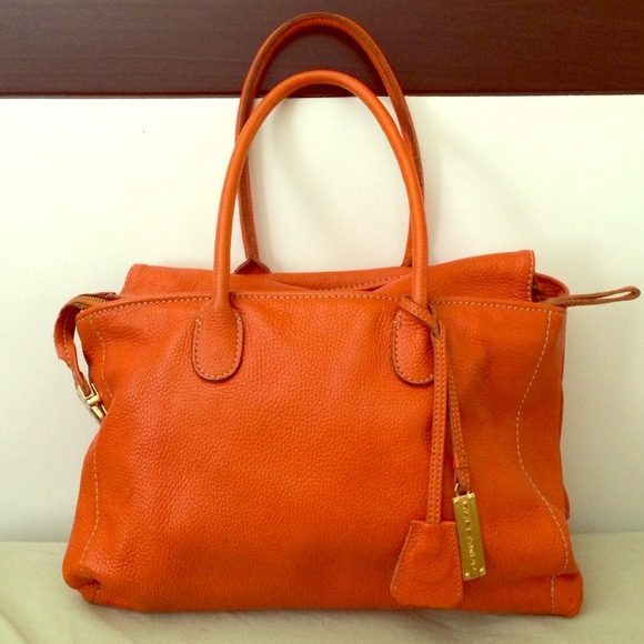 Rabeanco Bags Granville Orange Leather Satchel W Gold