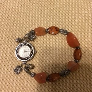 Accessories - Vintage stretch brown with silver beaded watch