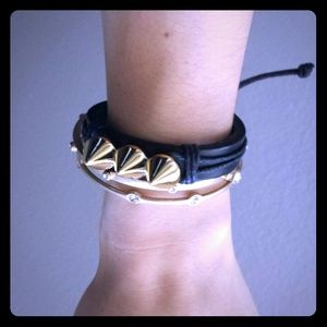 Studded leather/gold bracelet