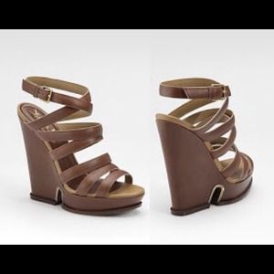 YSL Yves Saint Laurent Strappy Leather Wedges