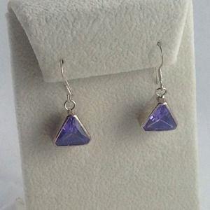 Custom Jewelry - Genuine Amethyst Trillion Earrings