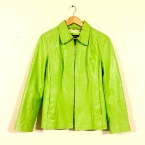 Lime Green Leather Blazer
