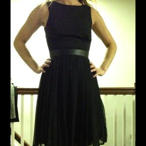 H&M black dress with leather detail