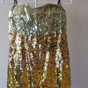 Ombre Gold Sequins Dress