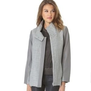 ✈️MOVING SALE✈️HELMUT LANG GREY LEATHERTRIM COAT😍