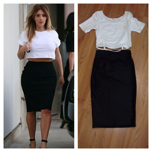 8849fbd8bb3a Skirts | White Crop Top 15 Black Skirt 20 | Poshmark