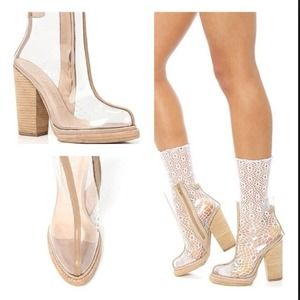 Jeffrey Campbell Boots - Jeffrey Campbell Attina Beige Clear Leather Boots