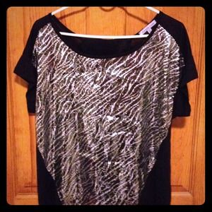 Charlotte Russe open-back, sequin, zebra top