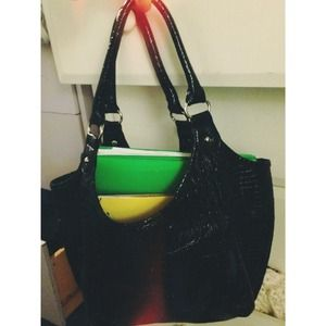 Black Snakeskin Purse School Bag