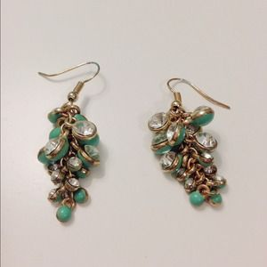 Anthropologie Jewelry - Turquoise and clear jewel earrings.