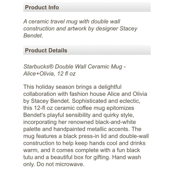 Alice + Olivia Accessories - Alice + Olivia x Starbucks Double Wall Ceramic Mug