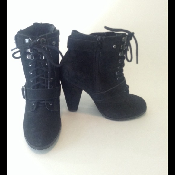 81% off Steve Madden Boots - Fierce Black Suede High Heel Combat ...